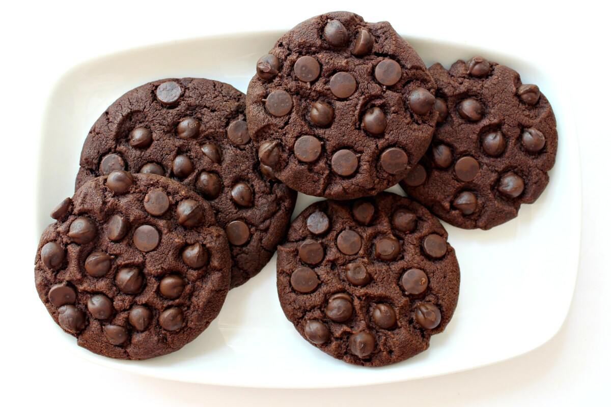Chocolate Cookies with chocolate chips pressed into the top of the cookies.