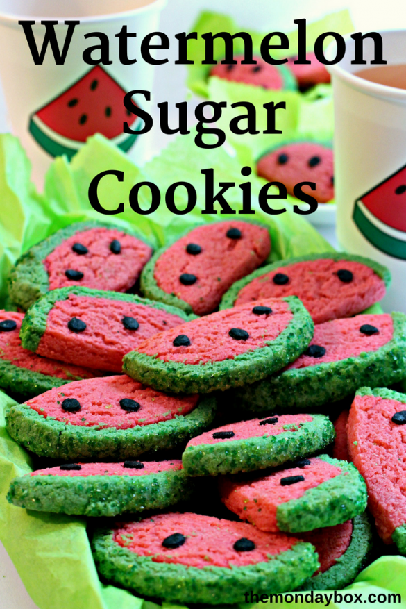 """Each bite of crunchy Watermelon Sugar Cookies, brings thoughts of summertime, picnics, and the beach.""""Seas the day"""", and bake a batch today!   themondaybox.com"""