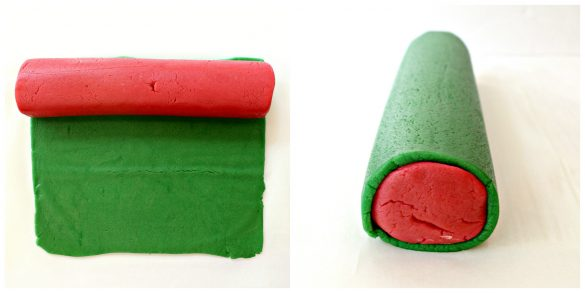 The pink dough is formed into a log. The green dough is rolled into a thin rectangle. Place the pink log on one edge of the green rectangle and roll up the pink log to cover completely with the green dough.