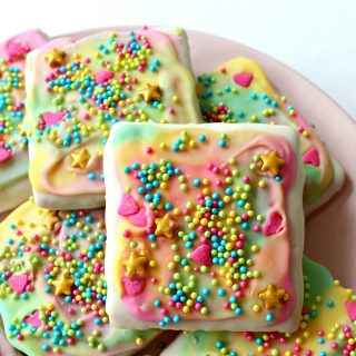 Unicorn Sprinkle Chocolate Covered Graham Crackers