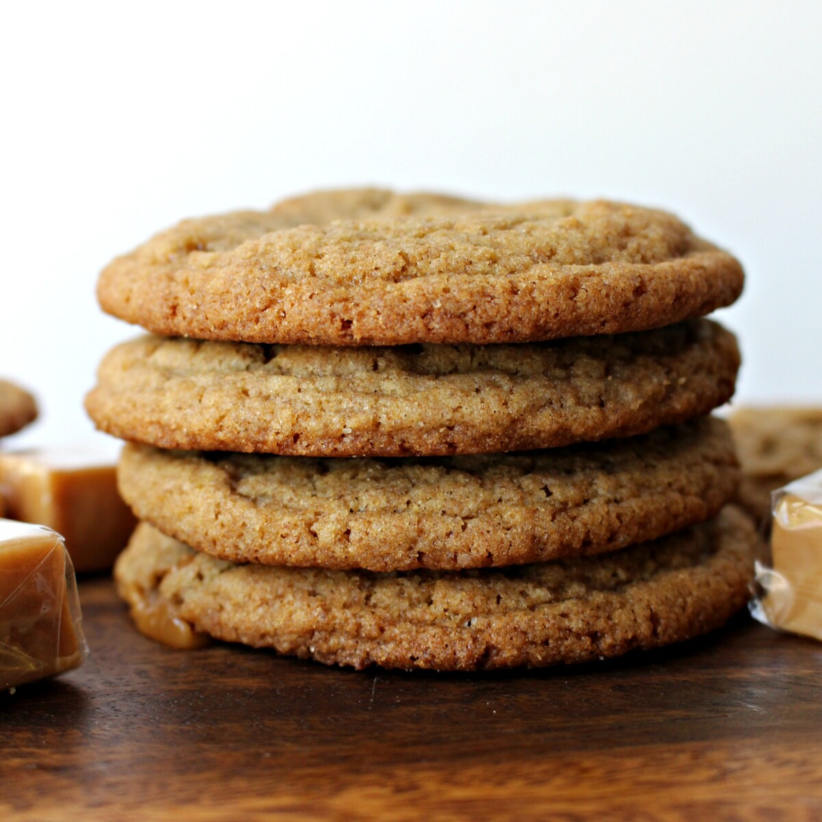 Stack of cookies from the side.