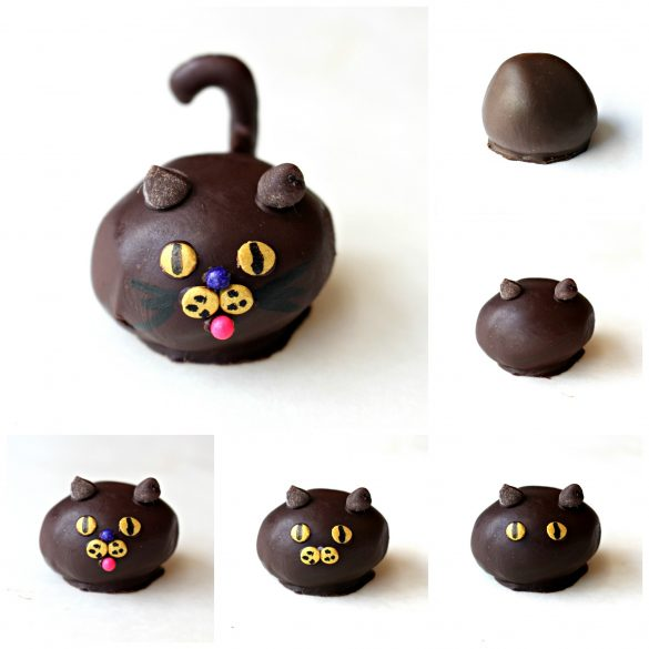 Peanut Butter Ball Cats process: plain chocolate covered ball, add mini-chip ears,add eyes, add nose, add navy sprinkle above nose, pink sprinkle below nose.