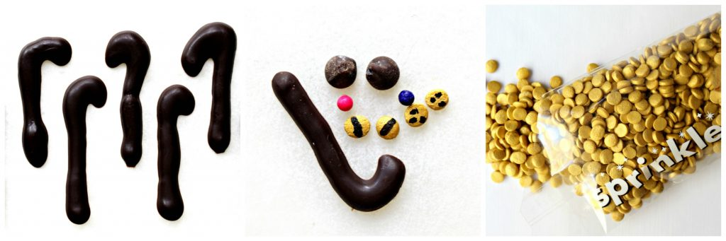 Chocolate hook shaped tails, gold sprinkle sequins, details for 1 cat: chocolate tail, 2 mini chips, 1 pink and 1 navy round sprinkle, 2 gold sequins with lines for eyes, 2 gold sequins with 3 dots each for the nose