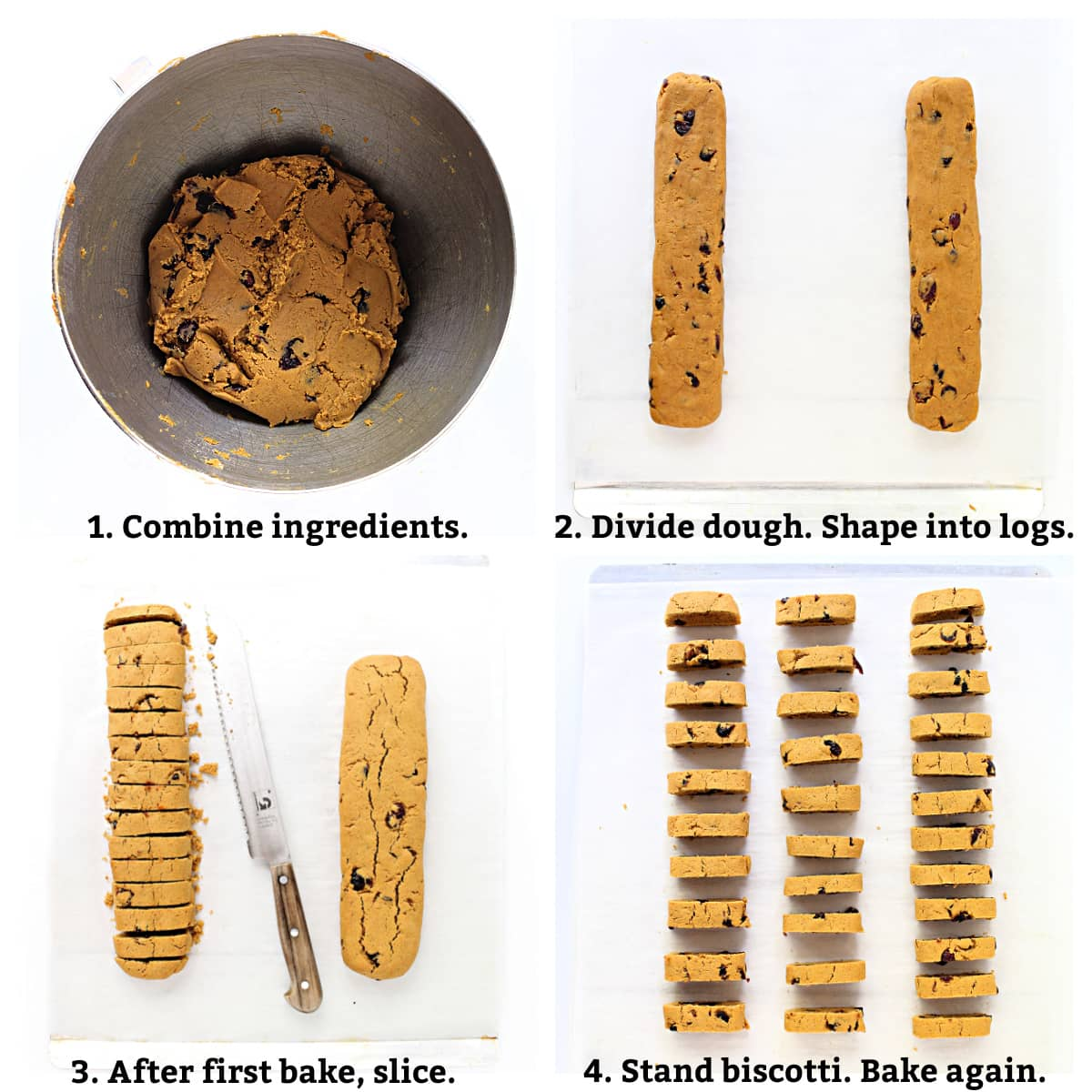 Biscotti instructions; combine ingredients, form two dough logs, bake then slice, bake slices again.