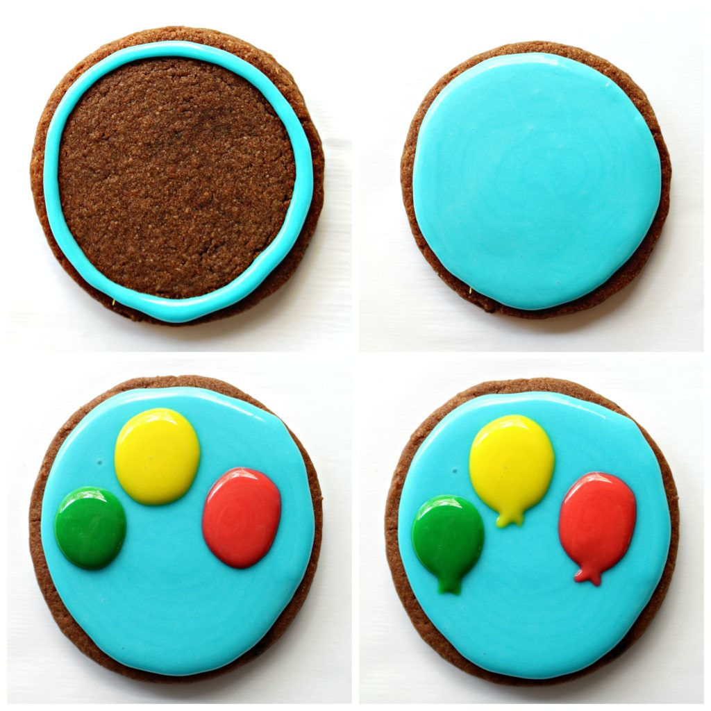 Balloon Sugar Cookies are undeniably cheerful and easy to make! A few dots of colored icing, tansforms sugar cookies into sweet gifts of best wishes. |themondaybox.com #sugarcookie #icedsugarcookies #decoratedsugarcookies #birthdaycookies
