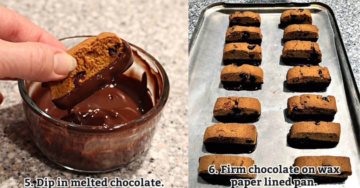 Chocolate dipping instructions; dip biscotti in bowl of melted chocolate, place on wax paper lined tray.