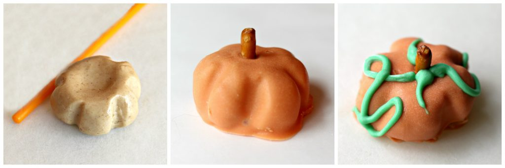 Peanut Butter Ball Pumpkins 3 steps: peanut butter filling shaped into ball then indented with pop stick, coat in orange chocolate and add pretzel stem, pipe on green chocolate vines and leaves