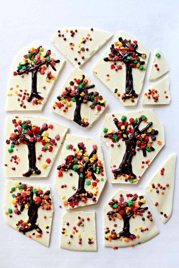Thanksgiving White Chocolate Bark broken into pieces for gifting. Pieces are cut around the piped trees.