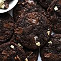 Chewy Chocolate Chunk Cookies with pieces of dark and white chocolate on top