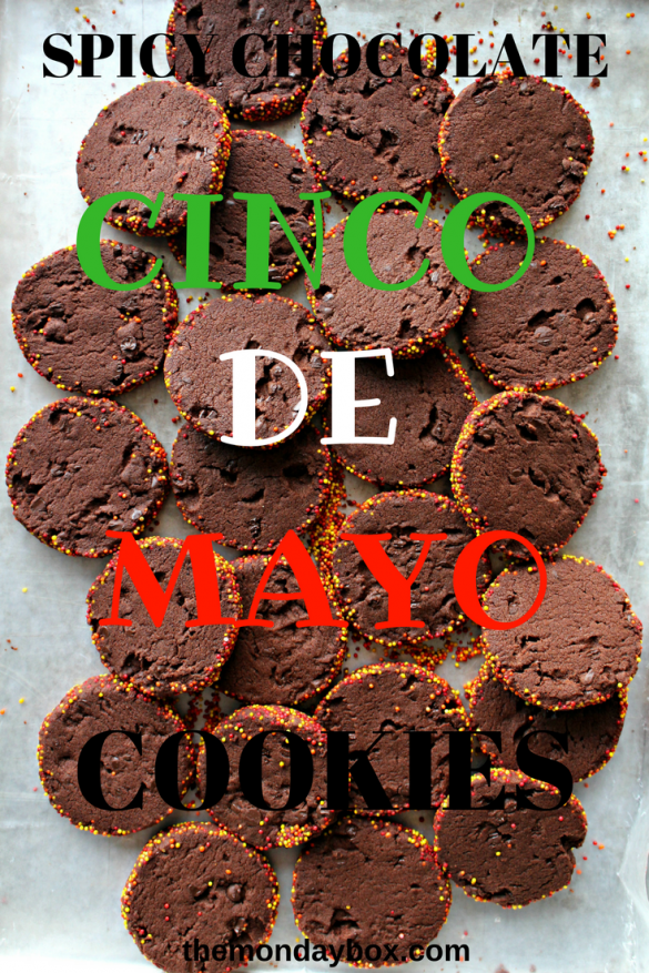 Spiced Chocolate Shortbread Cookies have spicy notes of cinnamon and cayenne pepper adding warmth to the rich chocolate flavor. Perk up your taste buds with each crunchy bite.| themondaybox.com #shortbread #shortbreadcookies #chocolatecookies #chocolateshortbread #sliceandbake #refrigeratorcookies #mexicanhotchocolatecookies #chocolatecinnamon #cinnamon #cincodemayo