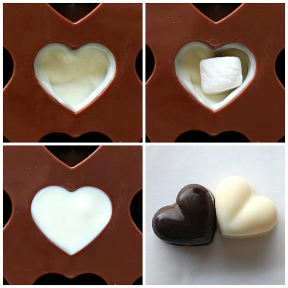Chocolate Marshmallow Hearts process : paint mold heart with white chocolate, add minimarshmallow, fill with white chocolate, two heart chocolates one white and one dark