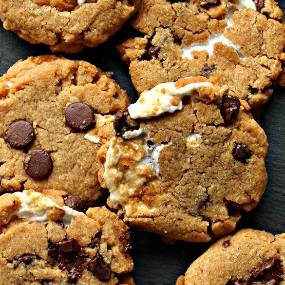 Flourless S'mores Peanut Butter Cookies