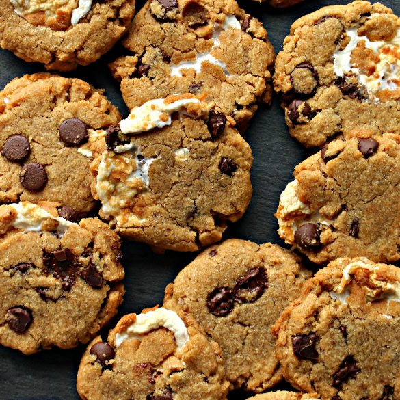 Flourless S'mores Peanut Butter Cookies with melted marshmallow and chocolate chips in dough