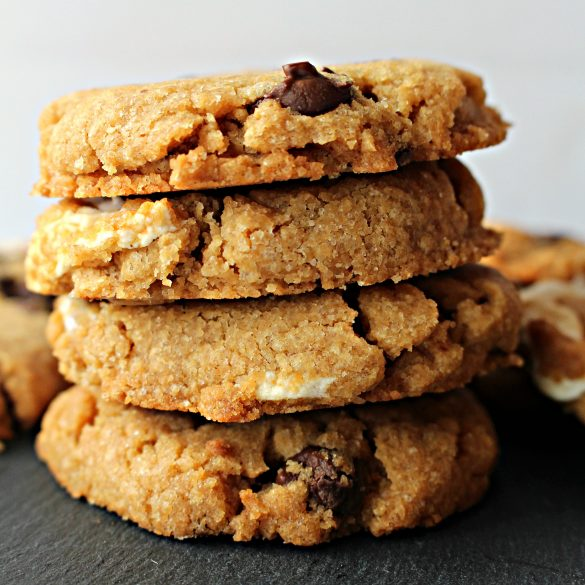 Flourless S'mores Peanut Butter Cookies stacked
