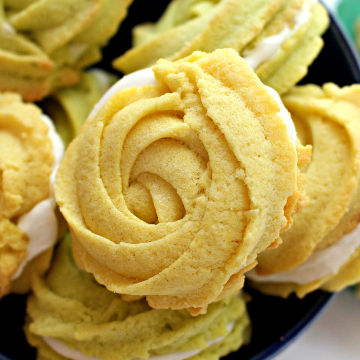 Closeup of one yellow lemon cookie rosette.