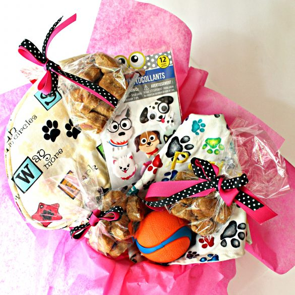 Paw Prints Dog Care Package with dog cookie and paw print gifts
