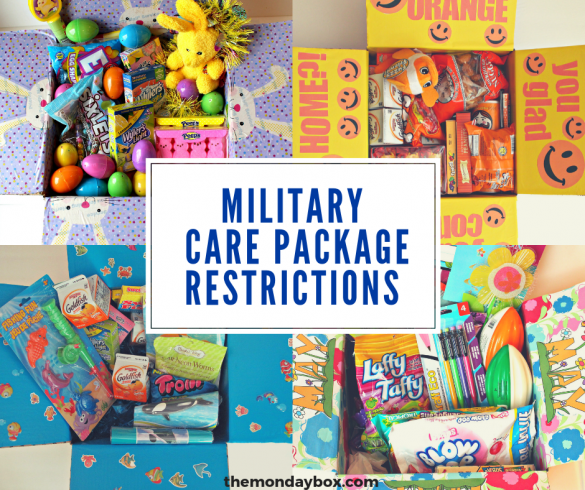 Four themed care packages with a banner for military care package restrictions