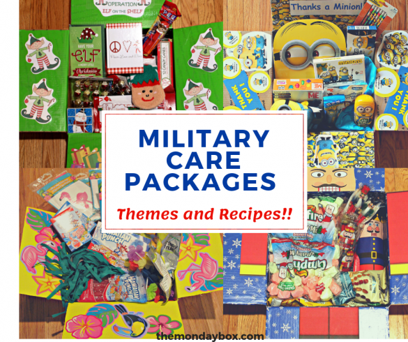 Collage of themed deployed military care packages