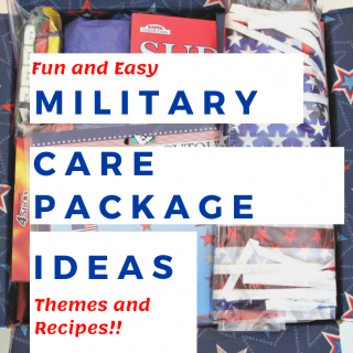 Red, white and blue military care package with title text overlay