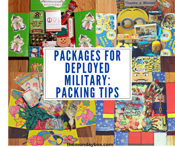 Four themed deployed military care pacakges with a banner for packing tips