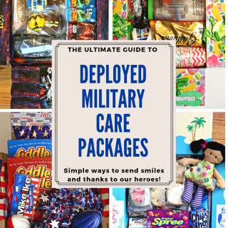 Four themed care package boxes with a Deplyed Military Care Packages banner