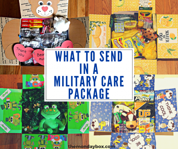 Four themed military care packages with banner for what to send in a military care package
