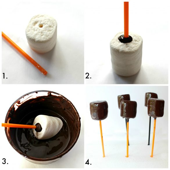 The first four steps in making Owl Marshmallow Pops