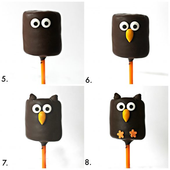Adding the candy eyes and sprinkles that turn the chocolate covered marshmallow into an owl.