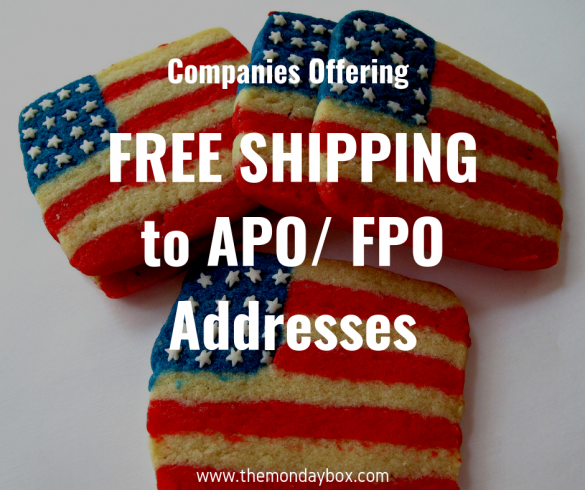 Flag cookies in the background with text Companies Offering Free Shipping to APO/FPO addresses