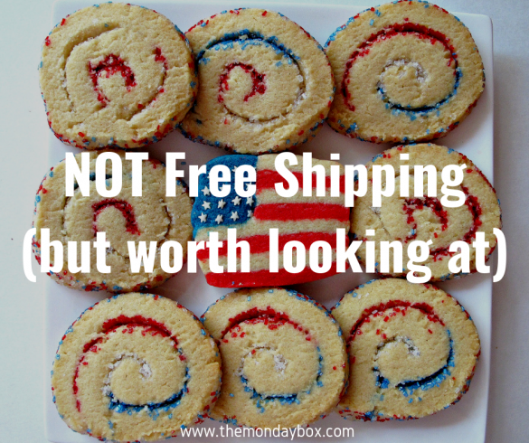 Swirls cookies and a flag cookie in background with text