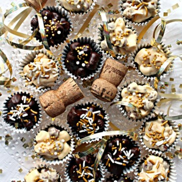 No Bake Chocolate Peanut Butter Cookies, champaign corks and gold ribbon on a white surface