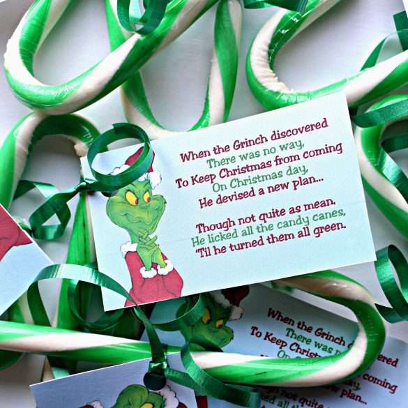 Green candy canes with a tag describing how the Grinch licked them green.