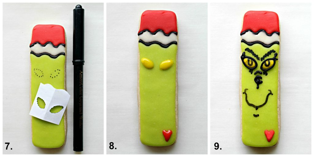Step by step image collage decorating Grinch Cookies: trace eyes, add yellow, add heart and  details.