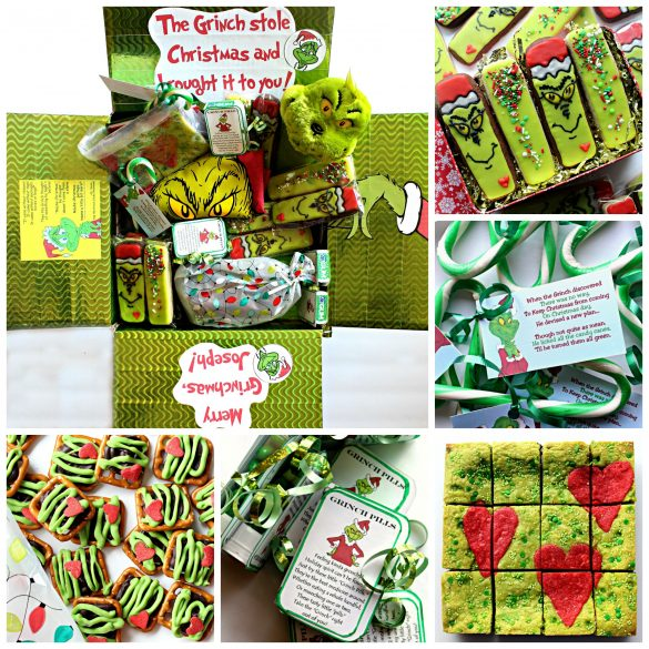 A collage of the Grinch Care package and photos of the contents including cookies, candy canes, brownies, and pretzels all in green.