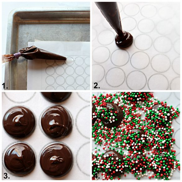 Step by step collage of making Nonpareil Candies piping chocolate circles and adding sprinkles.