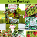Image collage showing the Grinch Care Package and the cookies, brownies and candy that go inside.