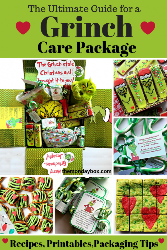 Collage of photos showing the Grinch Care Package and the cookies and candy that go into the package.