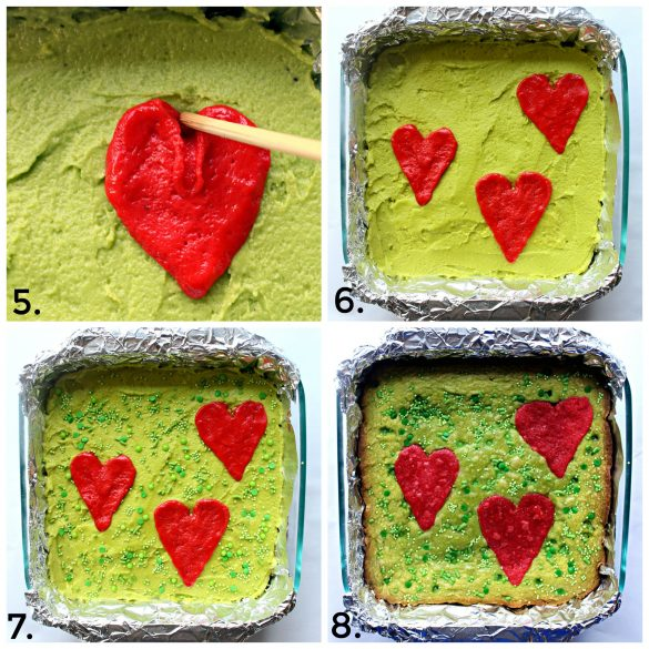 Steps 5-8 for making Grinch Brownies
