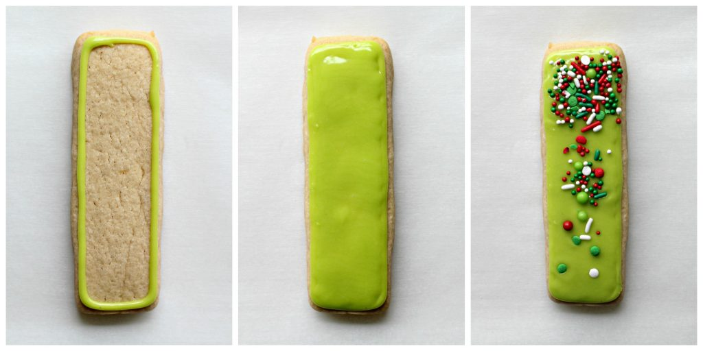 Three step process for making green sprinkled cookie sticks