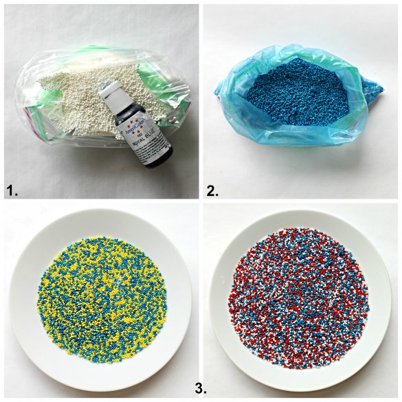 Image collage showing how to turning white nonpareils into custom colored sprinkles.