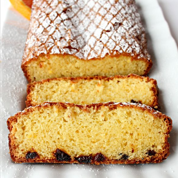 Slices of Orange Olive Oil Cake on a platter