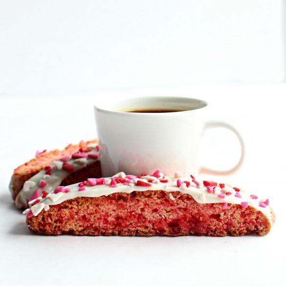 Biscotti in front of espresso mug