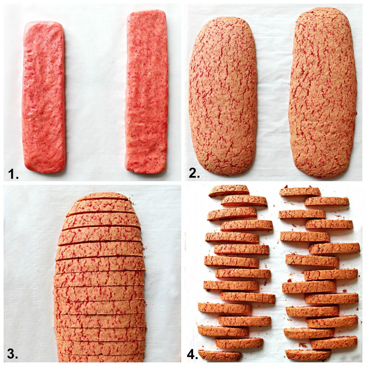 Step by step collage for making biscotti, form, bake, slice, bake again.