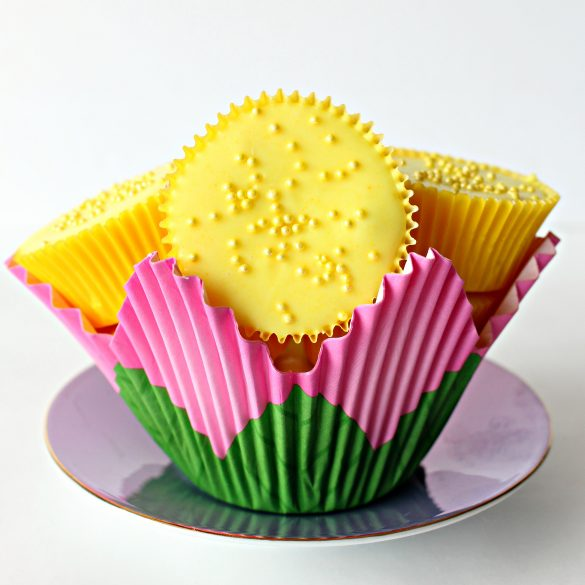 Yellow peanut butter cups in a cupcake paper shaped like a flower