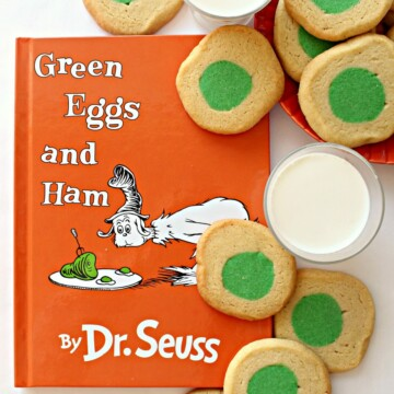 Green Eggs and Ham book with Green Eggs and Ham Cookies and milk