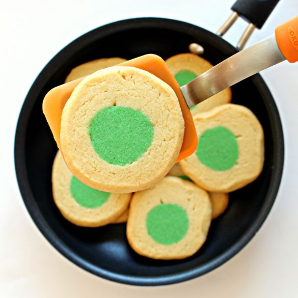 Green Eggs and Ham cookie close-up on spatula