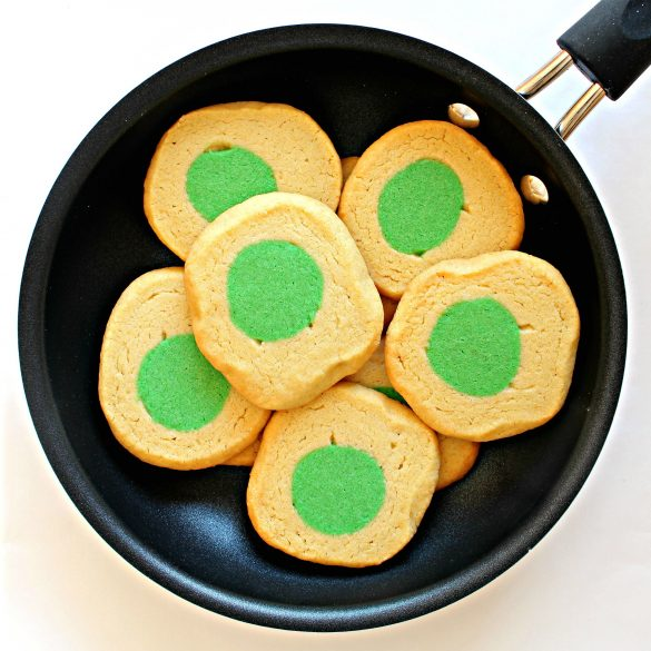 Green Eggs and Ham Cookies in a frying pan
