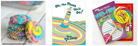 Photo 1: Swirl Cookies. Photo 2: book cover to Oh the Places You'll Go. Photo 3: puzzle books and a swirl lollipop.