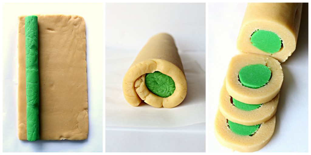 Step by step images collage to make slice and bake cookie dough log