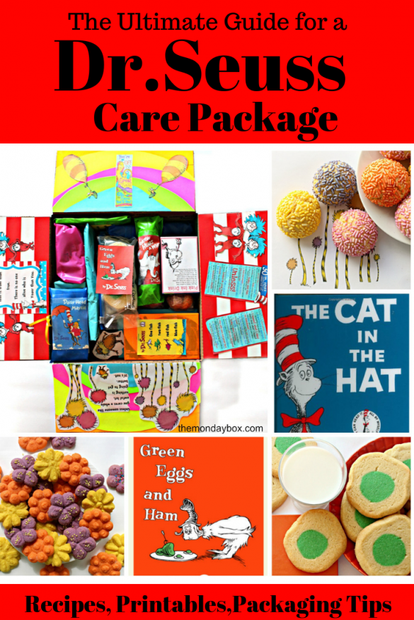 "Collage of photos showing the inside of the care package with the flaps of the box decorated from Seuss books. The top flap has a rainbow and two hot air balloon from ""oh the places you will go"". Two side flaps are red and white stripes with Thing 1 and 2 from Cat in the Hat. The bottom flap has Truffula trees from The Lorax. Inside the box the gifts are wrapped in bright colors with mini copies of Seuss book covers taped on each.The other photos are of round, sprinkled Truffula Tree Cookies, Flower Press Cookies, Slice and Bake Green Eggs and Ham Cookies, and the book covers to The Cat In the Hat and Green Eggs and Ham."